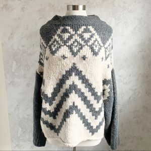 NEW Free People Nordic Striped Oversized Sweater